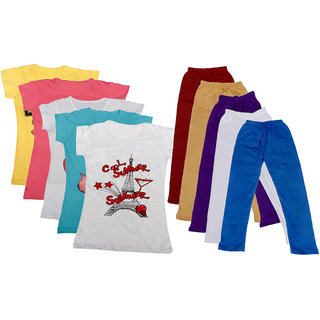 IndiWeaves Girls Cotton T-shirt With Leggings(Pack of 5 T-Shirts and 5 Leggings)RedWhiteMulticolored30