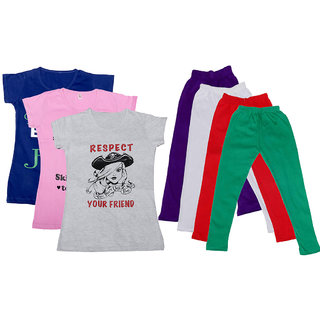 IndiWeaves Girls Cotton Legging With T-Shirt(Pack of 4 Girls Leggings and 3 T-Shirt )BluePinkWhitePurpleWhiteRedGreen30
