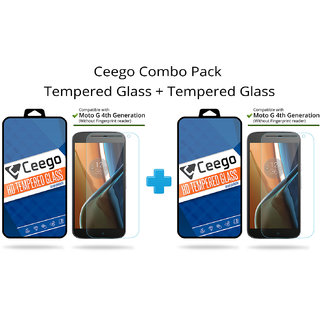 Ceego Tempered Glass for Moto G 4th Gen - Combo Pack of 2 (Save 20)