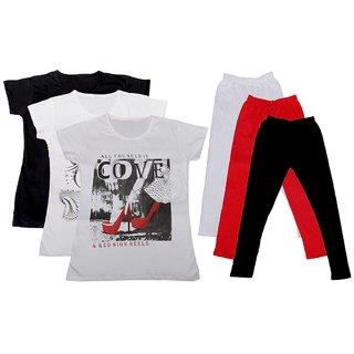 IndiWeaves Girls Cotton T-Shirts With Cotton Leggings (Pack of 3 T-Shirts 3 Leggings)BlackWhiteWhiteWhiteRedBlack30