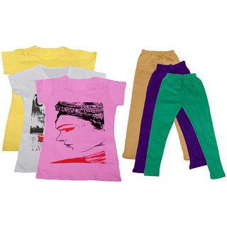 IndiWeaves Girls Cotton T-Shirts With Cotton Leggings (Pack of 3 T-Shirts 3 Leggings)YellowWhitePinkBeigePurpleGreen30