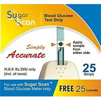 25 Strips For Thyrocare Sugar Scan With 25 Lancets For Blood Glucometer Machine