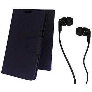 Wallet Mercury Flip Cover for Asus Zenfone C (BLACK) With 3.5 MM JACK Earphone