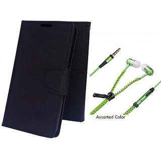 Wallet Mercury Flip Cover for Micromax Bolt Q338 (BLACK) With Zipper Earphone