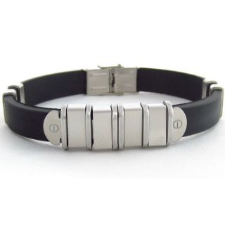 The Jewelbox Stainless Steel Links Black Rubber Mens Bracelet Wrist Band