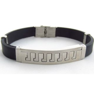The Jewelbox Stainless Steel Rubber Matt Finish Mens Bracelet Wrist Band