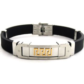 The Jewelbox Two Tone L Inlay Rubber Stainless Steel Mens Bracelet Wrist Band