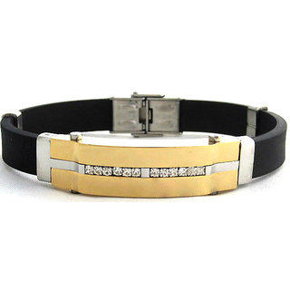 The Jewelbox Two Tone Centre Plate American Diamond Mens Bracelet Wrist Band