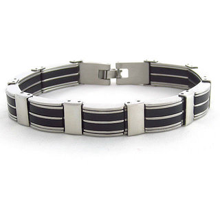The Jewelbox Stainless Steel Black Accents Matt Finish Mens Bracelet (Option 1)
