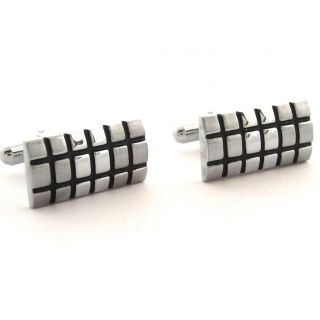 The Jewelbox Rectangle Black Chequered Matt Finish Cufflink