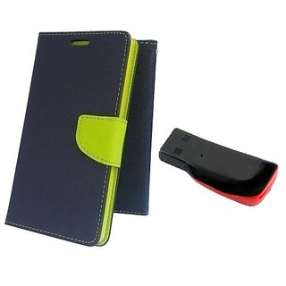 Wallet Mercury Flip Cover for Micromax Canvas Play Q355 (BLUE) With MEMORY CARD READER