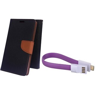 Wallet Mercury Flip Cover for Asus Zenfone 5 A500CG (BROWN) With Magnet Micro USB Cable
