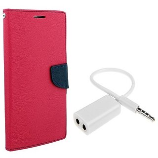Wallet Mercury Flip Cover for  Micromax Canvas Nitro 2 E311 (PINK) With AUX SPLITTER