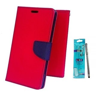 Wallet Mercury Flip Cover for Micromax Canvas Juice 2 AQ5001 (RED) With STYLUS PEN