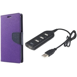 Wallet Mercury Flip Cover for Samsung Galaxy Note 2 (N7100) (PURPLE) With USB HUB