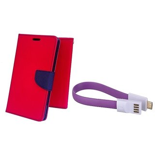 Wallet Mercury Flip Cover for LG G2  (RED) With Magnet Micro USB Cable