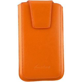 Emartbuy Asus ZenFone 3 Laser Sleek Range Orange Luxury PU Leather Slide in Pouch Case Sleeve Holder ( Size 4XL ) With Magnetic Flap  Pull Tab Mechanism