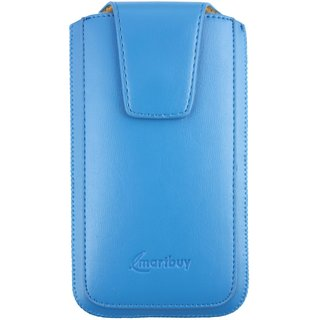 Emartbuy Samsung Galaxy A7 ( 2016 ) SM-A710 Sleek Range Light Blue Luxury PU Leather Slide in Pouch Case Sleeve Holder ( Size 4XL ) With Magnetic Flap  Pull Tab Mechanism