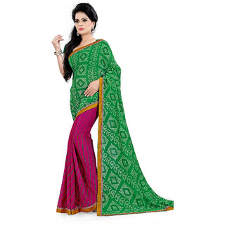 Karishma Synthetic Green and Purple Casual Saree