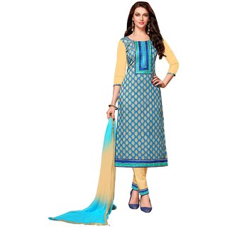 Aagaman Fashion Majestic Blue Colored Embroidered Blended Cotton Salwar Kameez