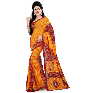 Karishma Synthetic Yellow and Red Casual Saree