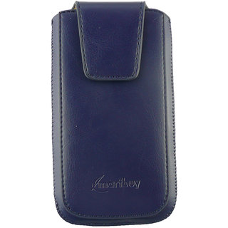 Emartbuy Samsung Galaxy E7 E700 Sleek Range Blue Luxury PU Leather Slide in Pouch Case Sleeve Holder ( Size 4XL ) With Magnetic Flap  Pull Tab Mechanism