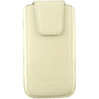 Emartbuy Samsung Galaxy Grand Lite Sleek Range White Luxury PU Leather Slide in Pouch Case Sleeve Holder ( Size 4XL ) With Magnetic Flap  Pull Tab Mechanism