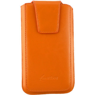 Emartbuy Sleek Range Orange Luxury PU Leather Slide in Pouch Case Cover Sleeve Holder ( Size 4XL ) With Luxury PUll Tab Mechanism Suitable For BLU Studio 5.0 C HD