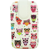 Emartbuy Multi Coloured Owls Print Premium PU Leather Slide in Pouch Case Cover Sleeve Holder ( Size 4XL ) With Pull Tab Mechanism Suitable For Byond B66