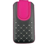 Emartbuy Black / Hot Pink Gem Studded Premium PU Leather Slide in Pouch Case Cover Sleeve Holder ( Size 4XL ) With Pull Tab Mechanism Suitable For Byond B66
