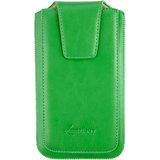 Emartbuy Sleek Range Green Luxury PU Leather Slide in Pouch Case Cover Sleeve Holder ( Size 4XL ) With Luxury PUll Tab Mechanism Suitable For Byond B66