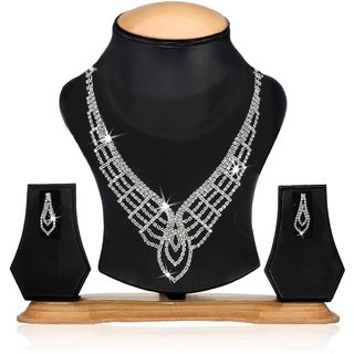 Factorywala Shining Silver Multi Strand Necklace With Earring For Women  Girl