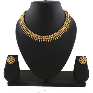Anuradha Art Golden Tone Styled With Shimmering Classy Designer Tarditional Necklace Set For Women