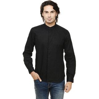 Rigo Black Solid Concealed Placket Mandarin Collar Casual Full Sleeve Shirt