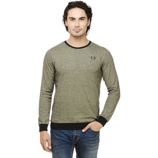 Rigo Green Self Textured Full Sleeve Black Cuff Round Neck Tee
