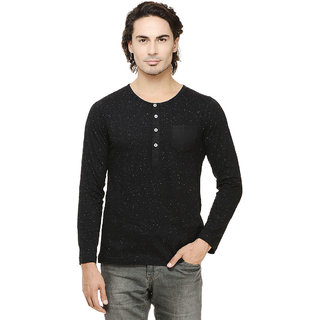 Rigo Black Nep Henley Full Sleeve Slim Fit Tee