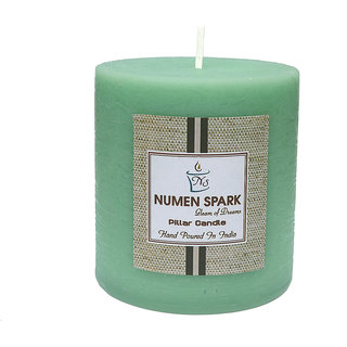 Numen Spark Cucumber Cantaloupe Scented Rustic Pillar Candle  (3 inch X 3 inch)