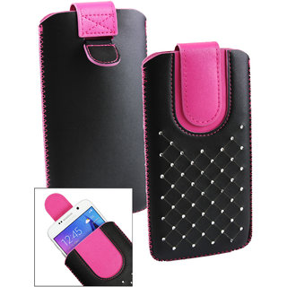 Emartbuy Black / Hot Pink Gem Studded Premium PU Leather Slide in Pouch Case Cover Sleeve Holder ( Size LM2 ) With Pull Tab Mechanism Suitable For Karbonn Quattro L52 VR