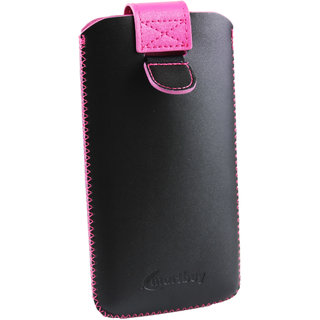 Emartbuy Black / Hot Pink Gem Studded Premium PU Leather Slide in Pouch Case Cover Sleeve Holder ( Size LM2 ) With Pull Tab Mechanism Suitable For Samsung Galaxy S5 Neo SM-G903