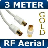 3M RF TV Television Aerial Lead Gold Cable In White