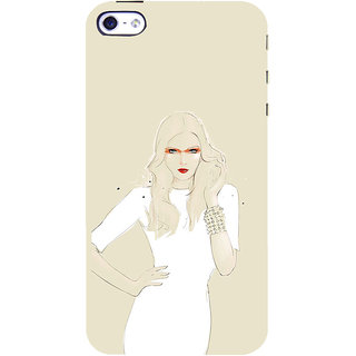 ifasho modern Girl in white dress painting Back Case Cover for Apple iPhone 5