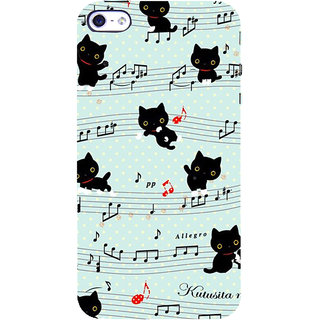 ifasho Animated Pattern design black and white music symbols and cats Back Case Cover for Apple iPhone 5