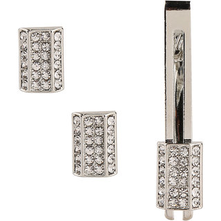 Tripin Silver Rectangle Cufflink Set With  Diamond Crystal With Matching Tie Pin With A Crystal Pen And A Classic Keychain