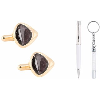 Tripin Unique Shaped Golden And Black Cufflink For Men In A Gift Box With A Crystal Pen And A Classic Keychain