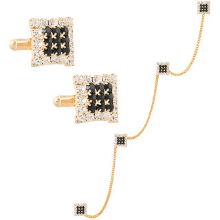 Tripin Kurta Buttons Black And Golden Color With Matching Cufflink Set For Men In A Gift Box