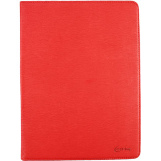 Emartbuy iBall Slide 3G Q1035 PC Universal ( 9 - 10 Inch ) Red Premium PU Leather Multi Angle Executive Folio Wallet Case Cover Tan Interior With Card Slots  + Stylus