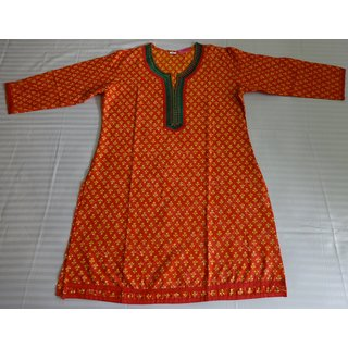 Cotton Block Print Kurti Orange and Yellow Color Size : L