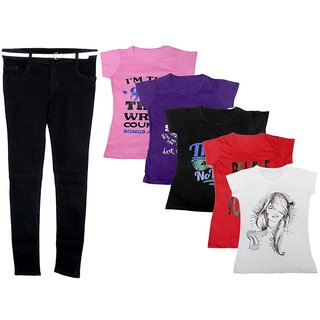 Indistar Women 1 Regular Fit Denim Jeans along with belt (size-28) and 5 Cotton Printed T-Shirt (Set of -6)
