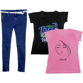 Indistar Women 1 Regular Fit Denim Jeans along with belt (size-28) and 2 Cotton Printed T-Shirt (Set of -3)