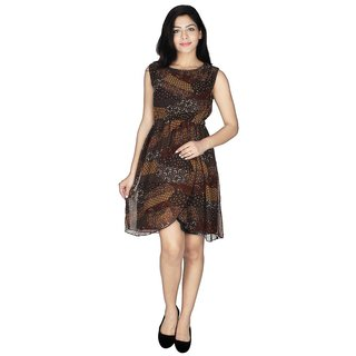 Ticsa Brown Georgette Dress